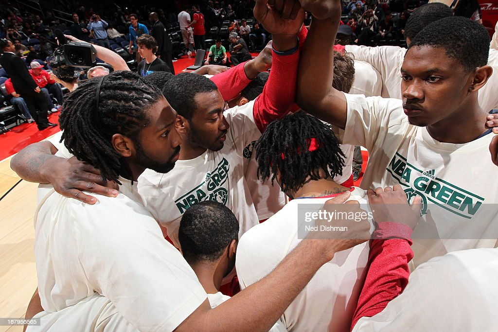 Nene #42 and the Washington Wizards huddle up before the game against the Indiana Pacers at the Verizon Center on April 6, 2013 in Washington, DC.
