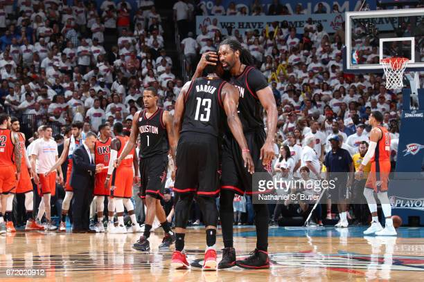 Nene Hilario and James Harden of the Houston Rockets celebrate after Game Four of the Western Conference Quarterfinals of the 2017 NBA Playoffs on...