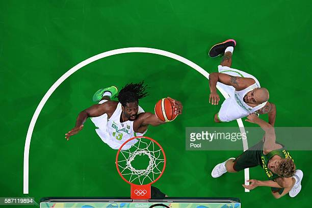 Nene Hilario of Brazil shoots during a Men's preliminary round basketball game between Brazil and Lithuania on Day 2 of the Rio 2016 Olympic Games at...