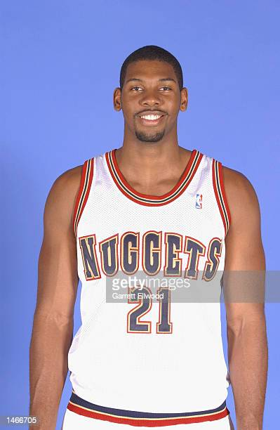 Nene Hilario of the Denver Nuggets poses for a portrait during the Nuggets Media Day on September 30 2002 at Pepsi Center in Denver Colorado NOTE TO...
