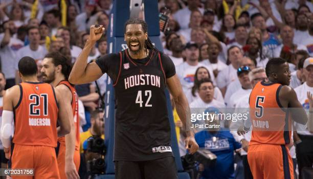Nene Hilario of the Houston Rockets celebrates after Game Four against the Oklahoma City Thunder in the 2017 NBA Playoffs Western Conference...
