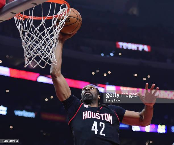 Nene Hilario of the Houston Rockets dunks during the first half against the LA Clippers at Staples Center on March 1 2017 in Los Angeles California...