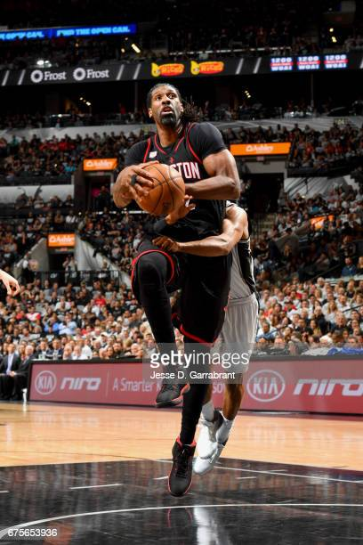 Nene Hilario of the Houston Rockets goes to the basket against the San Antonio Spurs during Game One of the Western Conference Semifinals of the 2017...