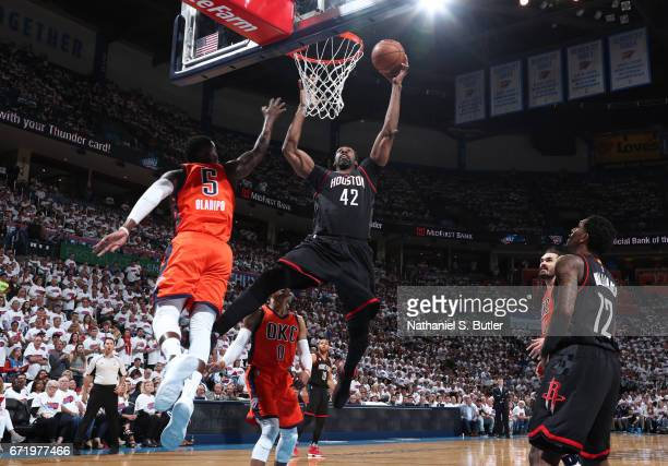 Nene Hilario of the Houston Rockets goes up for a shot against the Oklahoma City Thunder during Game Four of the Western Conference Quarterfinals of...