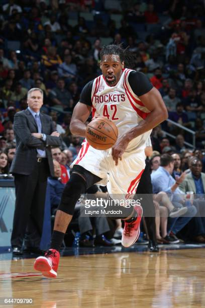 Nene Hilario of the Houston Rockets handles the ball during a game against the New Orleans Pelicans on February 23 2017 at Smoothie King Center in...