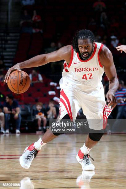 Nene Hilario of the Houston Rockets handles the ball during the preseason game against the Shanghai Sharks on October 5 2017 at the Toyota Center in...