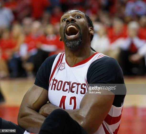 Nene Hilario of the Houston Rockets has words with the officials after he was called for a block against the Oklahoma City Thunder during Game Five...