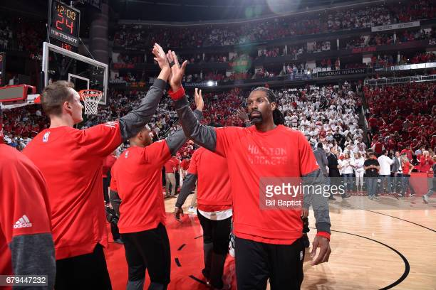 Nene Hilario of the Houston Rockets is seen before Game Three of the Western Conference Semifinals of the 2017 NBA Playoffs on May 5 2017 at the...
