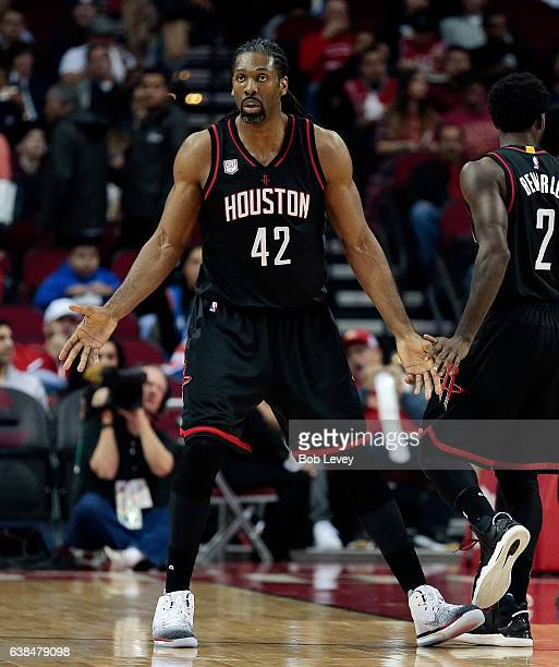 Nene Hilario of the Houston Rockets questions a foul called against him at Toyota Center on January 5 2017 in Houston Texas NOTE TO USER User...