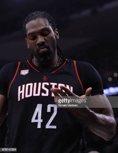 Nene Hilario of the Houston Rockets reacts during Game Two of the NBA Western Conference SemiFinals against the San Antonio Spurs at ATT Center on...