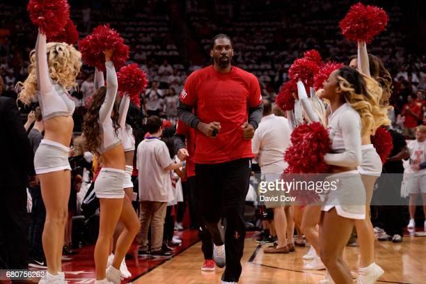 Nene Hilario of the Houston Rockets runs out before Game Four of the Western Conference Semifinals against the San Antonio Spurs during the 2017...