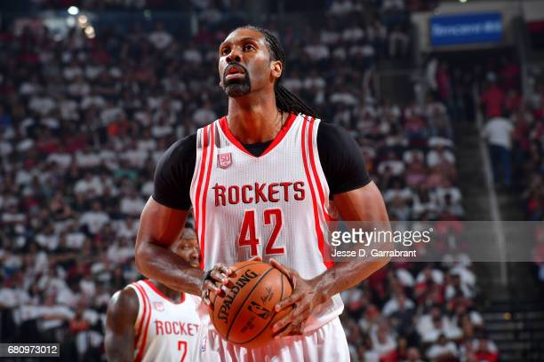 Nene Hilario of the Houston Rockets shoots a free throw against the San Antonio Spurs in Game Three of the Western Conference Semifinals of the 2017...