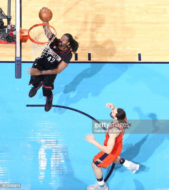 Nene Hilario of the Houston Rockets shoots the ball against the Oklahoma City Thunder during Game Four of the Western Conference Quarterfinals of the...