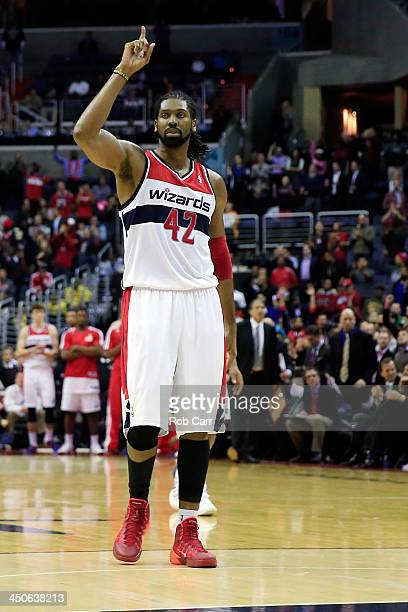 Nene Hilario of the Washington Wizards celebrates after making a pair of freee throws in the closing seconds of the Wizards 104100 win over the...