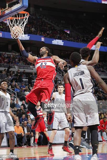 Nene Hilario of the Washington Wizards goes for the layup against the Detroit Pistons during the game on November 21 2015 at The Palace of Auburn...