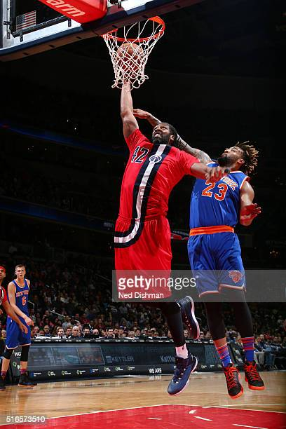 Nene Hilario of the Washington Wizards goes for the layup against the New York Knicks during the game on March 19 2016 at Verizon Center in...