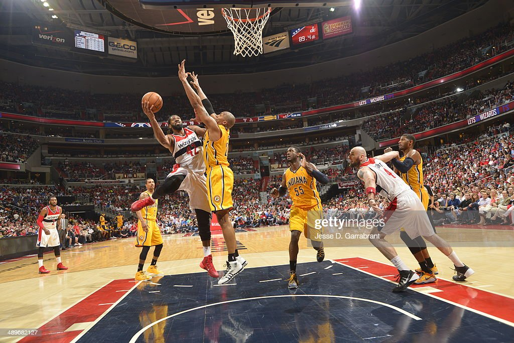 Nene Hilario #42 of the Washington Wizards goes up for the layup against the Indiana Pacers during Game Four of the Western Conference Semifinals on May 11, 2014 at the Verizon Center, in Washington DC.