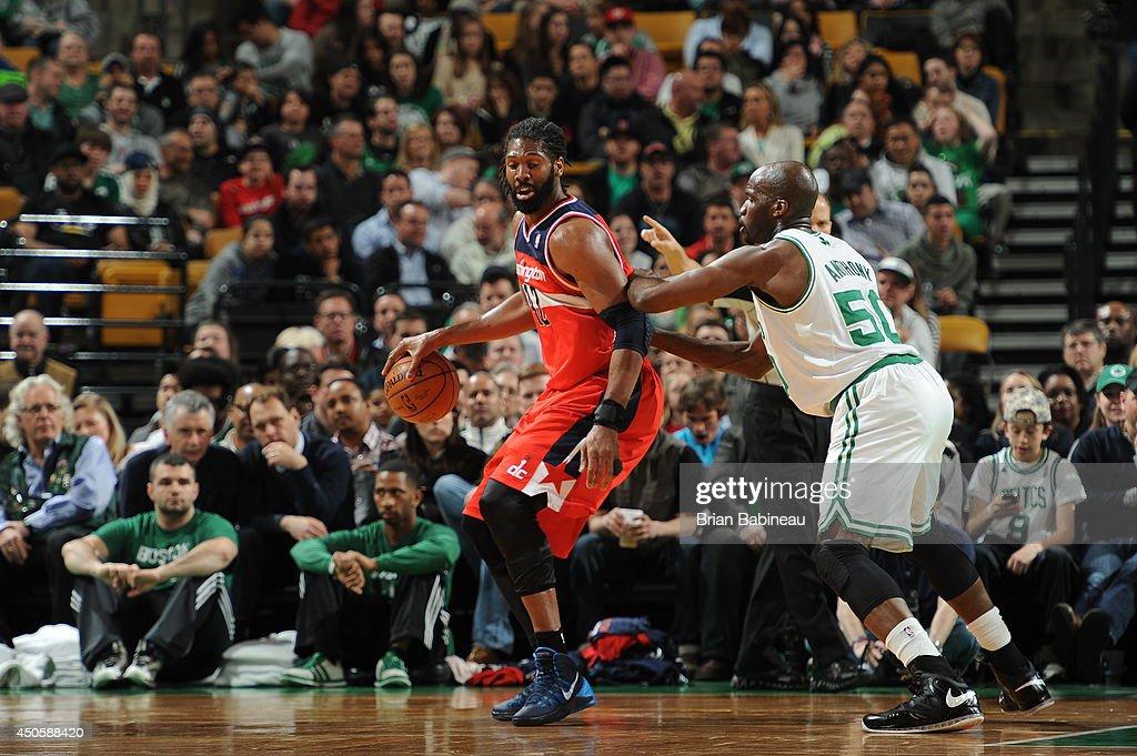 Nene Hilario #42 of the Washington Wizards handles the ball against the Boston Celtics on April 16, 2014 at the TD Garden in Boston, Massachusetts.