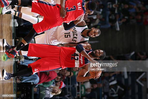 Nene Hilario of the Washington Wizards handles the ball against the Milwaukee Bucks during the game on October 30 2015 at the BMO Harris Bradley...