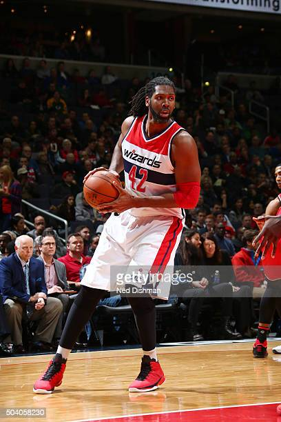 Nene Hilario of the Washington Wizards handles the ball against the Toronto Raptors on January 8 2016 at Verizon Center in Washington DC NOTE TO USER...