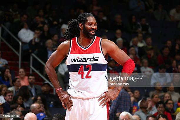 Nene Hilario of the Washington Wizards is seen during the game against the Detroit Pistons on March 14 2016 at Verizon Center in Washington DC NOTE...