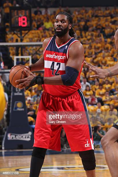 Nene Hilario of the Washington Wizards looks to pass the ball against the Indiana Pacers during Game One of the Eastern Conference Semifinals on May...
