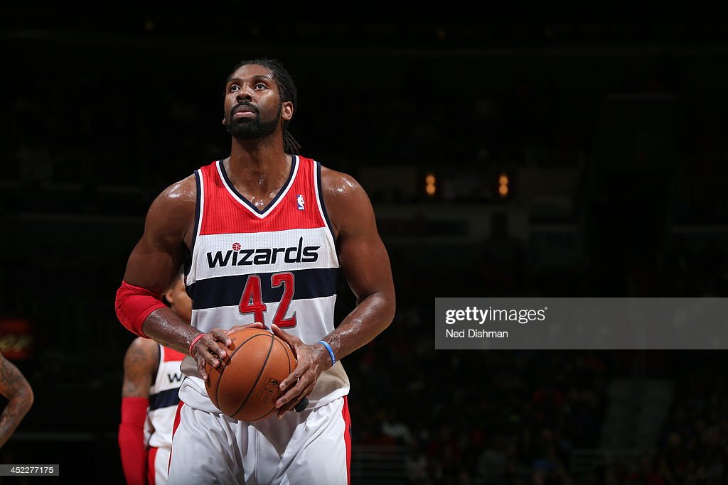 <a gi-track='captionPersonalityLinkClicked' href=/galleries/search?phrase=Nene+Hilario+-+Basketball+Player&family=editorial&specificpeople=4250456 ng-click='$event.stopPropagation()'>Nene Hilario</a> #42 of the Washington Wizards shoots a free throw against the New York Knicks during the game at the Verizon Center on November 23, 2013 in Washington, DC.