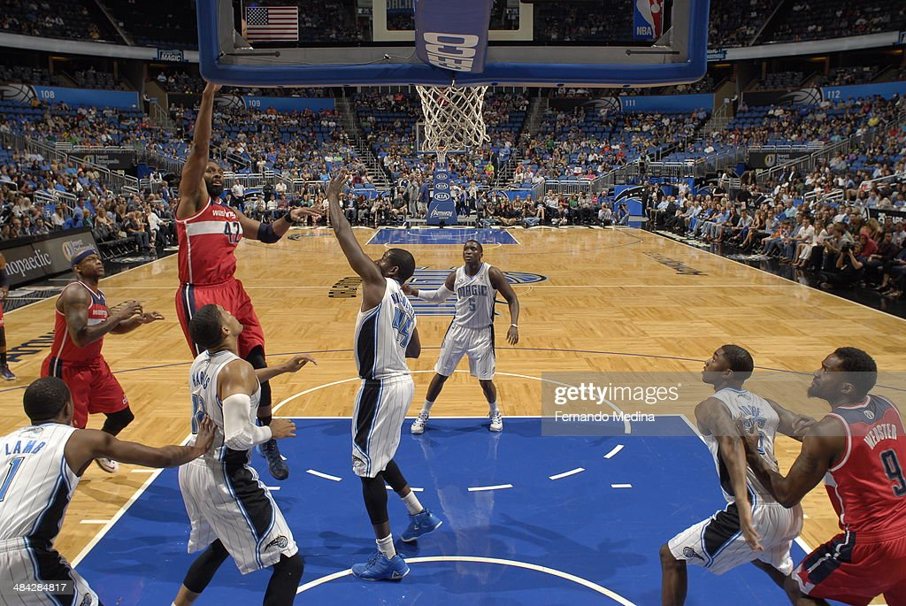 <a gi-track='captionPersonalityLinkClicked' href=/galleries/search?phrase=Nene+Hilario+-+Basketball+Player&family=editorial&specificpeople=4250456 ng-click='$event.stopPropagation()'>Nene Hilario</a> #42 of the Washington Wizards shoots the ball against the Orlando Magic during the game on April 11, 2014 at Amway Center in Orlando, Florida.