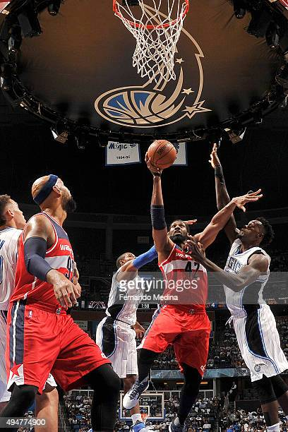 Nene Hilario of the Washington Wizards shoots the ball against the Orlando Magic on October 28 2015 at Amway Center in Orlando Florida NOTE TO USER...