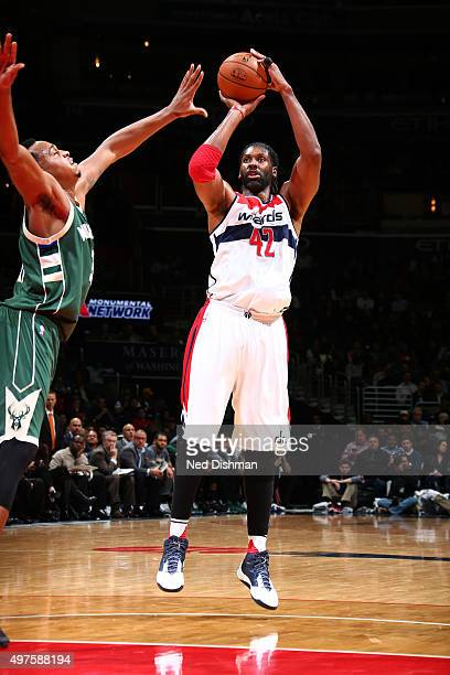 Nene Hilario of the Washington Wizards shoots the ball during the game on November 17 2015 at Verizon Center in Washington DC NOTE TO USER User...