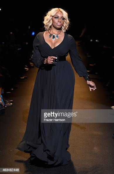 NeNe Leakes walks the runway at Naomi Campbell's Fashion For Relief Charity Fashion Show during MercedesBenz Fashion Week Fall 2015 at The Theatre at...