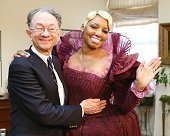 NeNe Leakes with designer William Ivey Long filming an episode of 'The Real Housewives of Atlanta' for her final 'Cinderella' Costume fitting at...