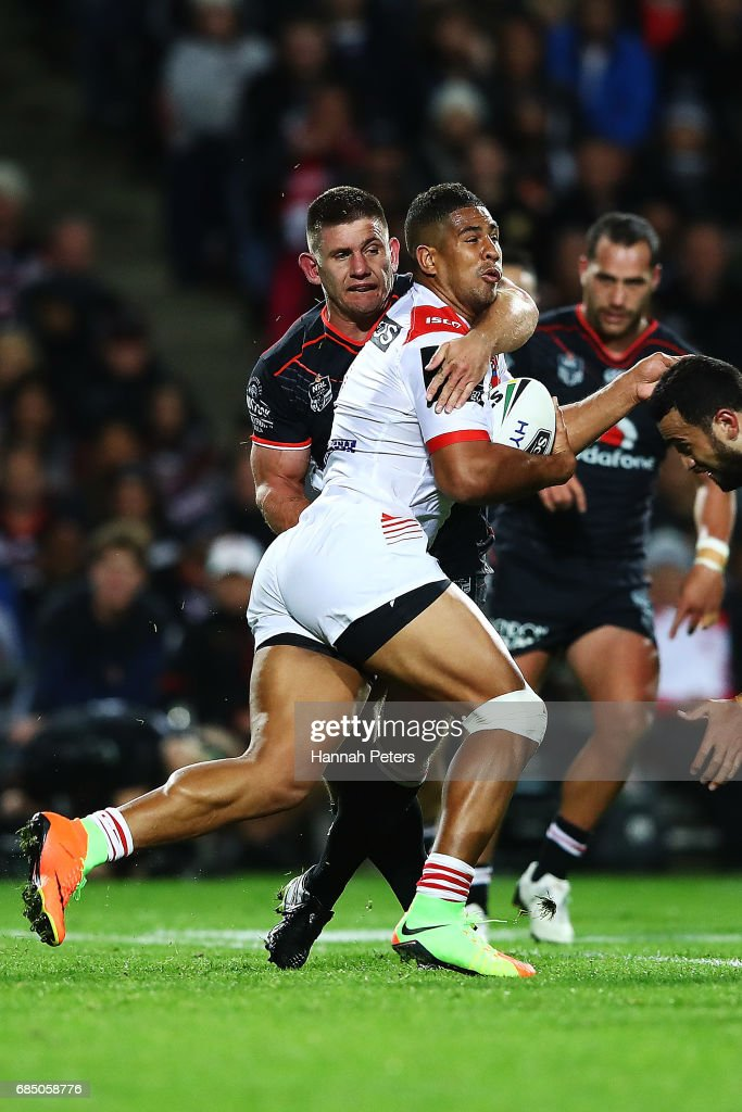 Nene MacDonald of the Dragons charges forward during the round 11 NRL match between the New Zealand Warriors and the St George Illawarra Dragons at Waikato Stadium on May 19, 2017 in Hamilton, New Zealand.