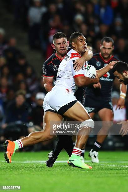 Nene MacDonald of the Dragons charges forward during the round 11 NRL match between the New Zealand Warriors and the St George Illawarra Dragons at...