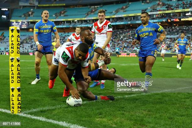 Nene MacDonald of the Dragons scores a try during the round 15 NRL match between the Parramatta Eels and the St George Illawarra Dragons at ANZ...