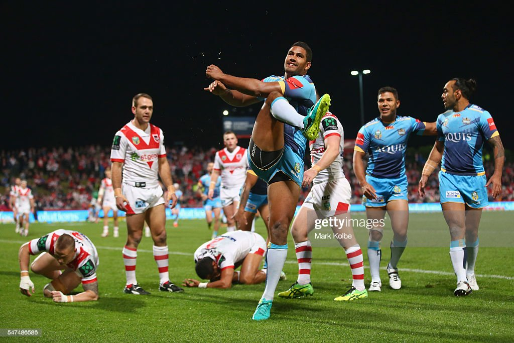 Nene Macdonald Of the Titans celebrates scoring a try during the round 19 NRL match between the St George Illawarra Dragons and the Gold Coast Titans at WIN Jubilee Stadium on July 15, 2016 in Sydney, Australia.