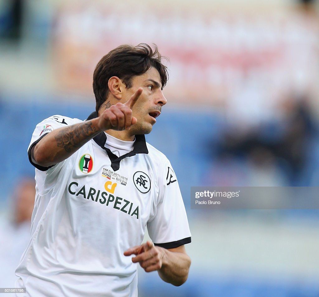 Nene' of AC Spezia gestures during the TIM Cup match between AS Roma and AC Spezia at Stadio Olimpico on December 16, 2015 in Rome, Italy.