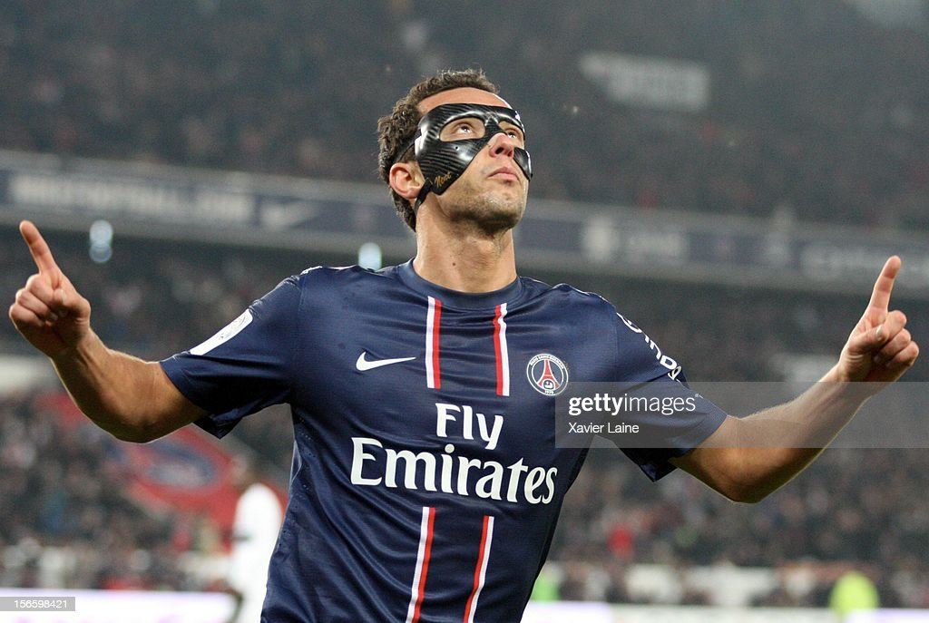 Nene of Paris Saint-Germain FC celebrates his goal during the French Ligue 1 between Paris Saint-Germain FC and Stade Rennais FC, at Parc des Princes on November 17, 2012 in Paris, France.