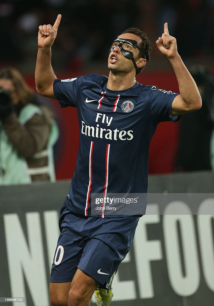 Nene of PSG celebrates his goal during the french Ligue 1 match between Paris Saint Germain FC and Stade Rennais FC at the Parc des Princes stadium on November 17, 2012 in Paris, France.