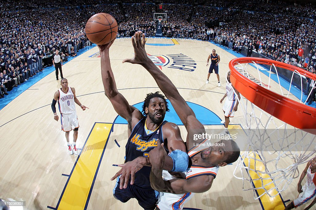 Nene #31 of the Denver Nuggets shoots against <a gi-track='captionPersonalityLinkClicked' href=/galleries/search?phrase=Serge+Ibaka&family=editorial&specificpeople=5133378 ng-click='$event.stopPropagation()'>Serge Ibaka</a> #9 of the Oklahoma City Thunder in Game Five of the Western Conference Quarterfinals on April 27, 2011 at the Oklahoma City Arena in Oklahoma City, Oklahoma.