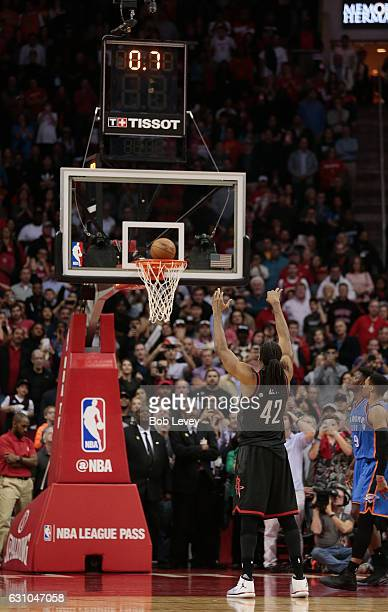 Nene of the Houston Rockets makes free throws with 07 seconds left in the game against the Oklahoma City Thunder at Toyota Center on January 5 2017...