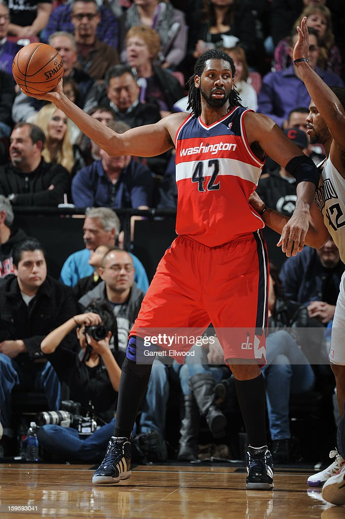 Nene #42 of the Washington Wizards calling a play against the Sacramento Kings on January 16, 2013 at Sleep Train Arena in Sacramento, California.