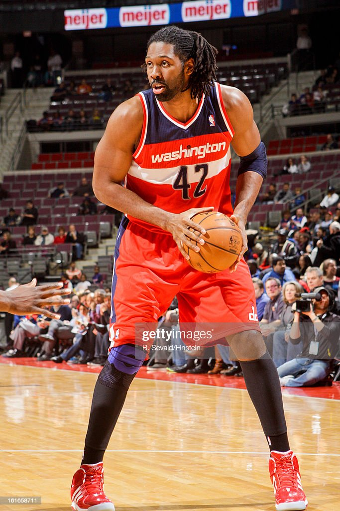 Nene #42 of the Washington Wizards controls the ball against the Detroit Pistons on February 13, 2013 at The Palace of Auburn Hills in Auburn Hills, Michigan.