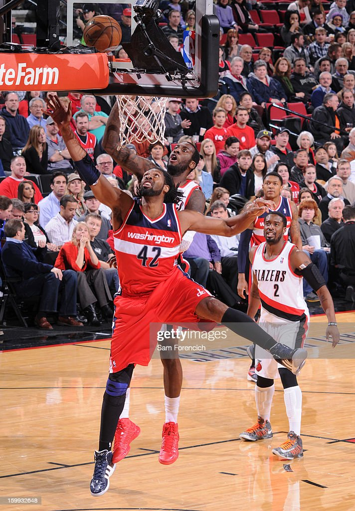 Nene #42 of the Washington Wizards drives to the basket against the Portland Trail Blazers on January 21, 2013 at the Rose Garden Arena in Portland, Oregon.