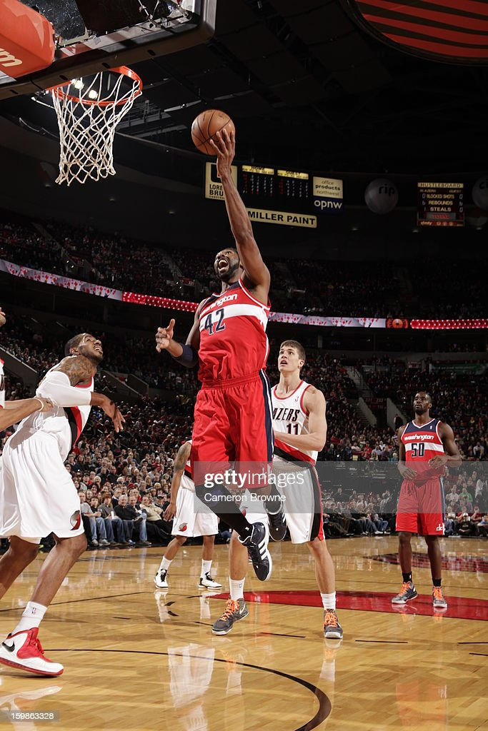 Nene #42 of the Washington Wizards goes to the basket against Portland Trail Blazers on January 21, 2013 at the Rose Garden Arena in Portland, Oregon.