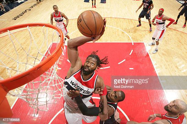 Nene of the Washington Wizards goes up for a dunk against the Atlanta Hawks in Game Three of the Eastern Conference Semifinals of the 2015 NBA...