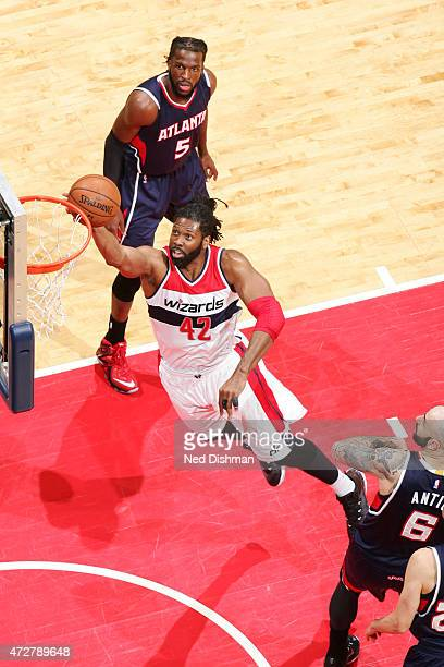 Nene of the Washington Wizards goes up for a shot against the Atlanta Hawks in Game Three of the Eastern Conference Semifinals of the 2015 NBA...