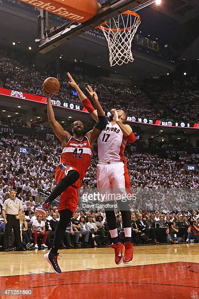 Nene of the Washington Wizards goes up for a shot against the Toronto Raptors during Game Two of the Eastern Conference Quarterfinals of the 2015 NBA...