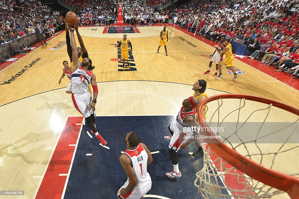 Nene #42 of the Washington Wizards grabs a rebound against the Indiana Pacers during Game Six of the Eastern Conference Semifinals on May 15, 2014 at the Verizon Center in Washington, D.C.
