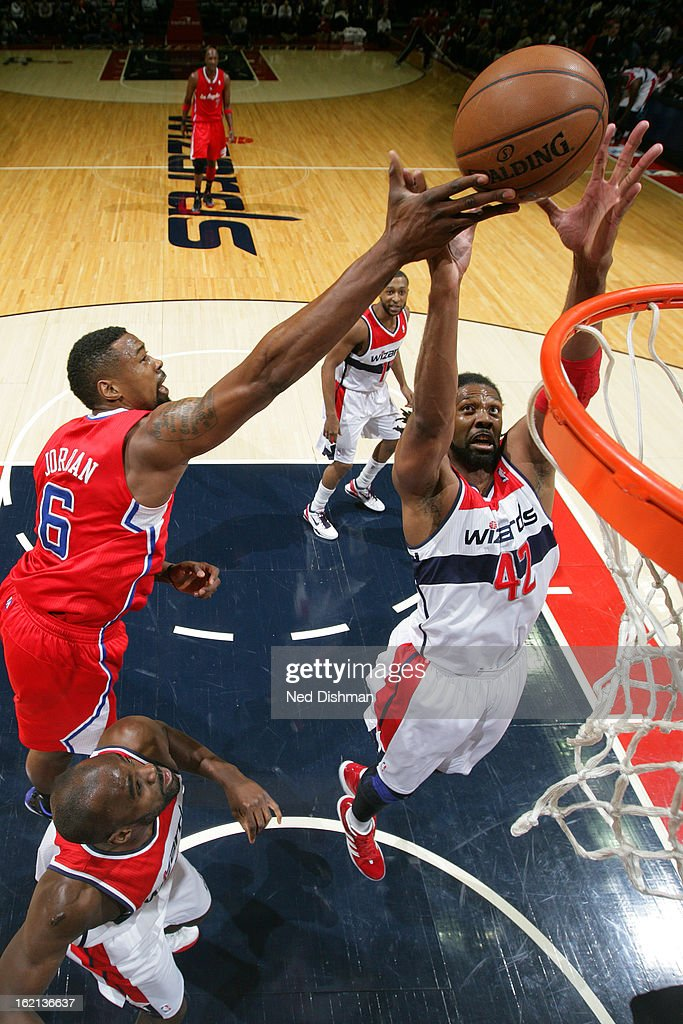 Nene #42 of the Washington Wizards grabs the rebound against <a gi-track='captionPersonalityLinkClicked' href=/galleries/search?phrase=DeAndre+Jordan&family=editorial&specificpeople=4665718 ng-click='$event.stopPropagation()'>DeAndre Jordan</a> #6 of the Los Angeles Clippers on February 4, 2013 at the Verizon Center in Washington, DC.